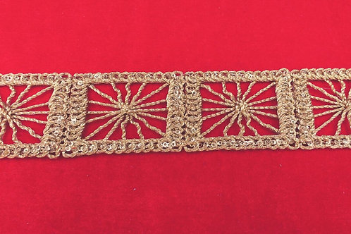 Product #B47 | CordWork Narrow Border with Golden Square Trails and Sequins