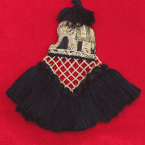 Product #T53 | Tassel with Embroidery Elephant and Jaali-Work and Thread Dangle