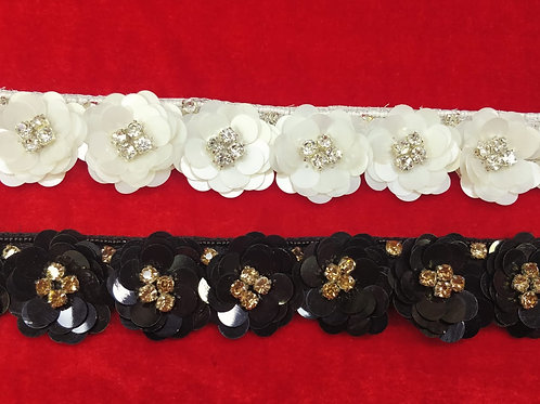 Product #Ne01   Hand Embroidered Sequins 3D Flower patch Border with Crystal