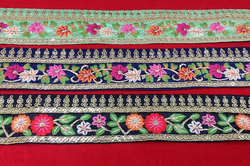 Product #B102 | Machine Embroidery Borders with Floral Trails and Temple Design