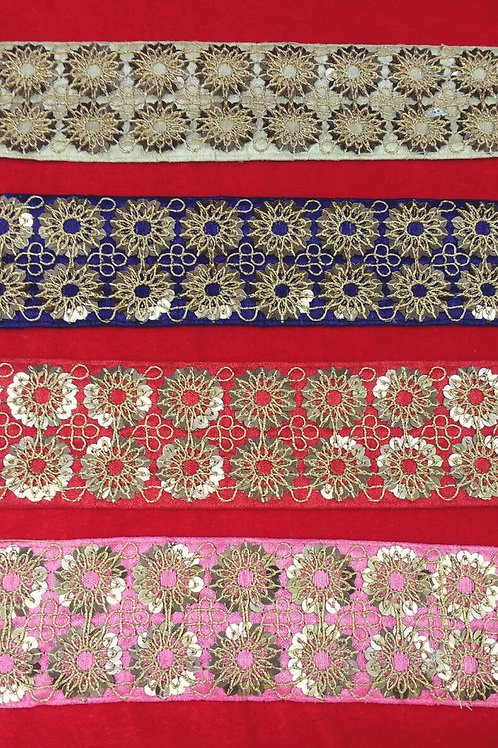 Product #B103 | Machine Embroidered Border with Dense Sequins & Threadwork Trail
