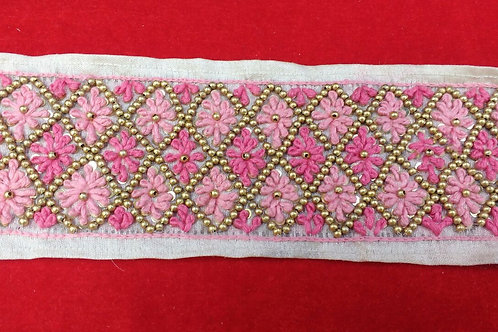 Product #B58 | Handmade Exclusive Border with Dual-Tone Pink FrenchKnotting