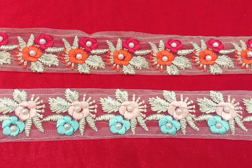 Product #159 | Thread-Work Borders with Elegant Flower and Pearl Patterns