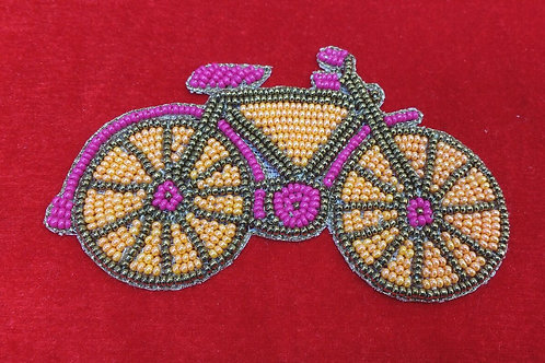 Product #P04 | BeadWork Patch HandMade Multicolor Classic Bicycle Design
