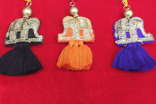 Product #T55 | Tassels with Golden Embroidery Elephants and Danglers