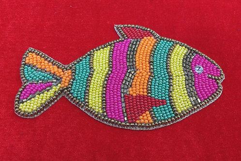 Product #P06 | BeadWork Patch HandMade Multicolor Fish Design