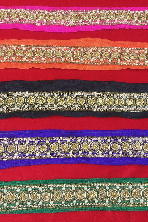 Product #B67 | Handmade Exclusive Border with SequinsFlower & CutBead Trails