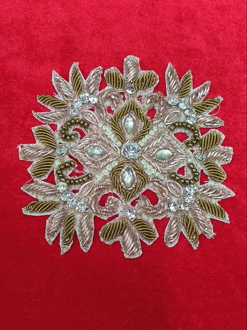 Product #935 | Zardozi-Work Applique Rose-Gold and Antique with Stone-Work