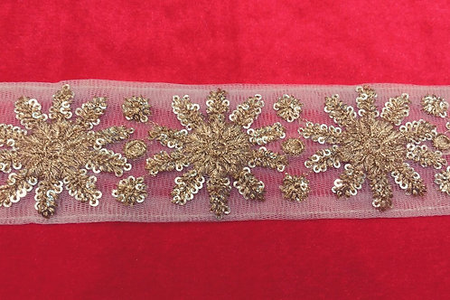 Product #B121 | Machine Embroidered Borderr Sequins & ThreadWork Stroke Pattern