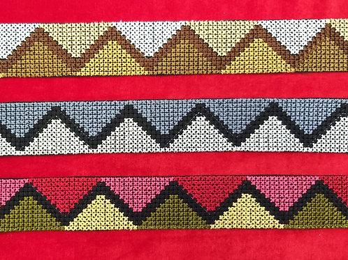 Product #Ne34 | Machine Embroidered Cross Stitch Border