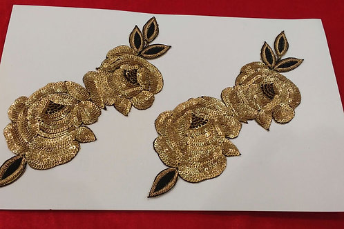 Product #508 | Sequins-Work Applique Golden Flower with Dot-Glitter Sequins