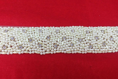 Product #B85   Hand Embroidered Stud-Pearl Design on Net Base