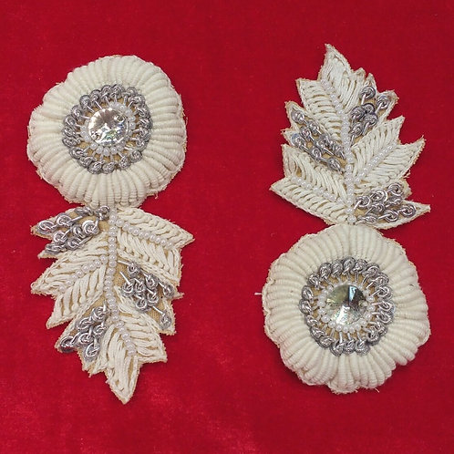 Product #911 | Zardozi-Work Applique Off-White Threadwork Flowers and Pearlbeads