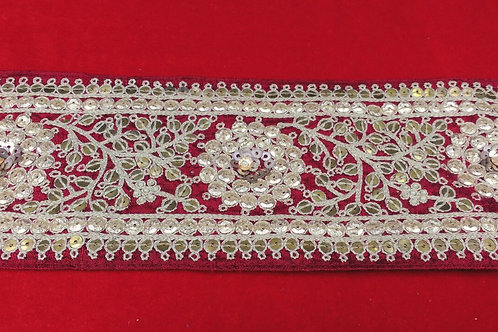 Product #B78 | Exclusive Handmade Broad Border with Rich WaterGolden Embroidery