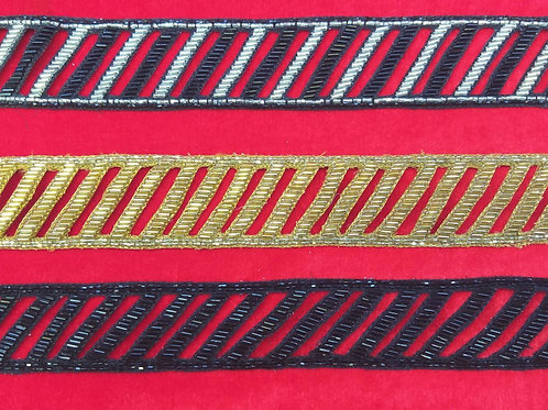 Product #Ne22 | Hand Embroidered Cut-work Glass cut-beads Border