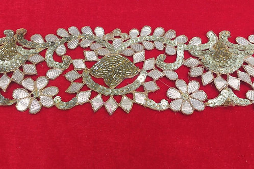 Product #B14 | Handmade Exclusive GotaWork Border with Sequins & CutBead Trails