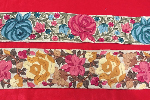 Product #B115 | Machine Embroidered Borders with Dense Floral Parsi GaraWork