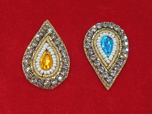 Product #942 | Zardozi-Work Patches Drop-Shape with Stud-Pearl-Work