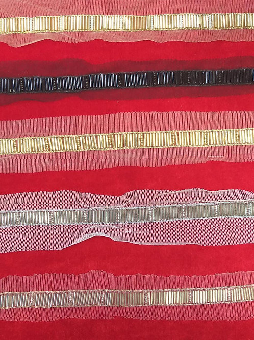 Product #Ne103 | Hand Embroidered Glass Bugle Beads Border