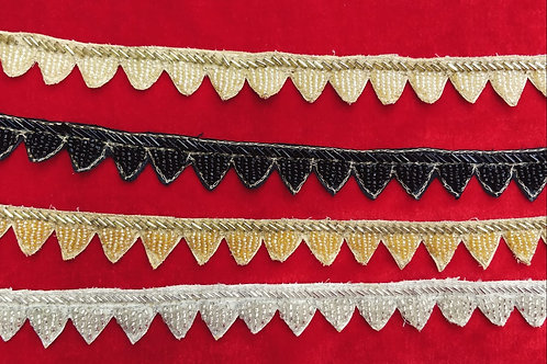 Product #Ne07 | Hand Embroidered Bead-work Scallop Border on Canvas Fabric