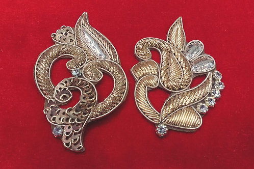 Product #943 | Zardozi-Work Patches Golden with Sequins, Badla-Work & Stud-Work