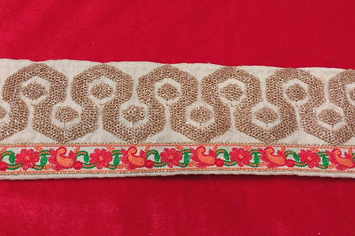 Product #162 | Machine Embroidery Border with Dot-Glitter Sequins Work