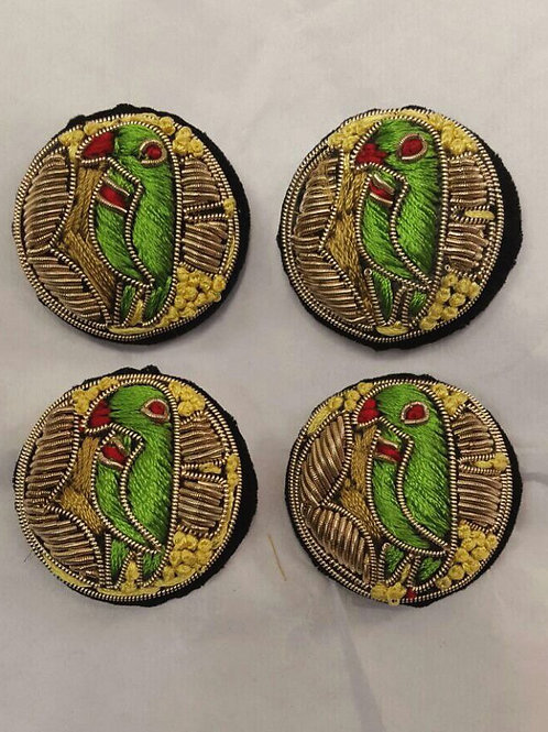 Product #903 | Zardozi-Work Buttons with Fine Parrot and French Knotting