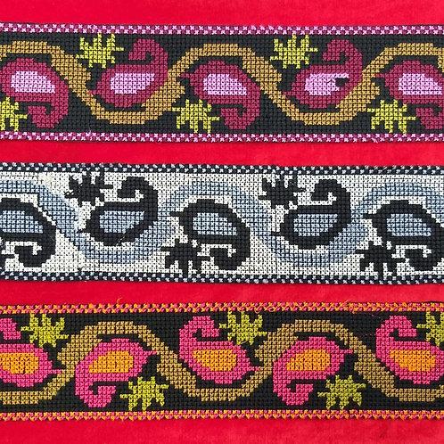 Product #Ne42 | Machine Embroidered Cross Stitch Border