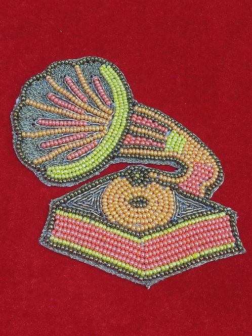 Product #P21 | BeadWork Patch HandMade Multicolor Vintage Gramophone Design