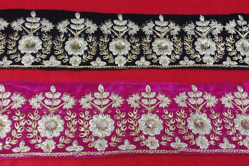 Product #B91   Machine Embroidery Broad Border with Fine Golden Flower Patterns