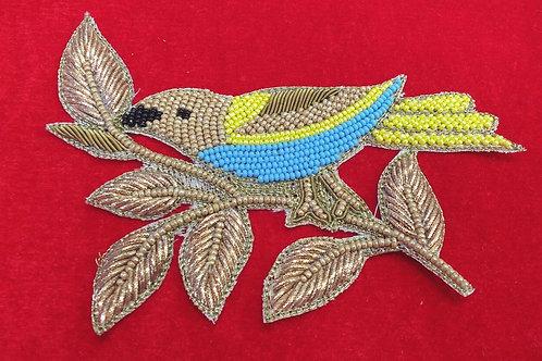 Product #P05 | BeadWork & ZardoziWork Patch HandMade Multicolor Bird Design