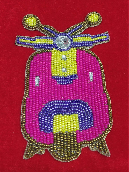 Product #P22   BeadWork Patch HandMade Multicolor Vintage Scooter Design
