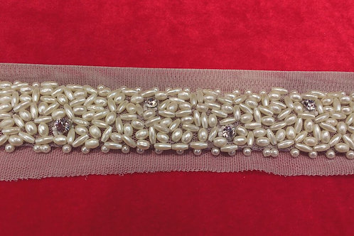 Product #299 | Hand-made Border with Dense Off-White Pearl and Stud-Work