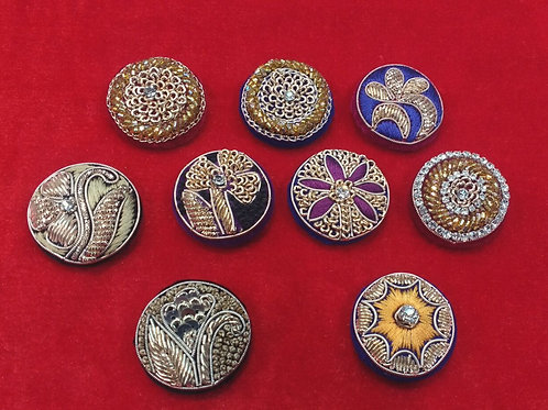 Product #744 | Zardozi-Work Buttons All Unique Designs and Elegant Colours