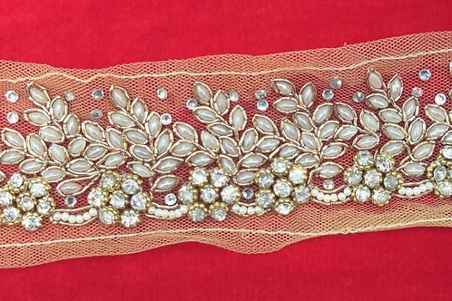 Product #Ne86 | Hand Embroidered Kundan work, Zardozi work & Crystal Stud Border