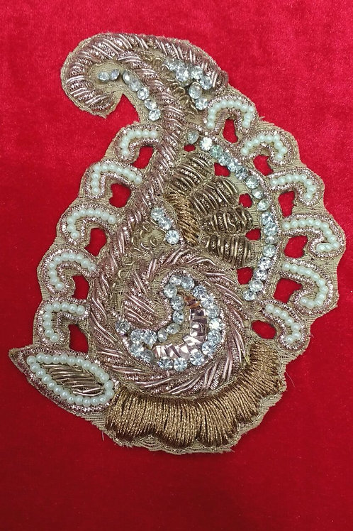 Product #902 | Zardozi-Work Applique RoseGold Antique with Thread and Bead-Work