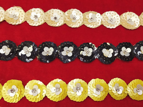 Product #Ne02 | Hand Embroidered Sequins Flower border with Centered Stud-work