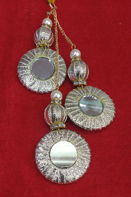 Product #T15 | Tassel with Three Gota-Work Rings and Round Mirror