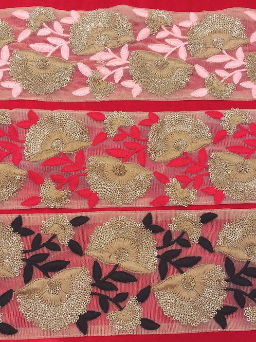 Product #296 | Machine Embroidered Threadwork Borders with Dot-Glitter Sequins