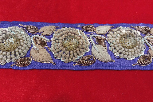 Product #340 | Handmade Zardozi-work Border with French Knot Flowers and Sequins