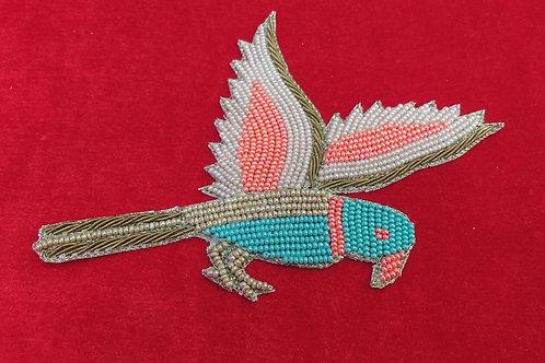 Product #P23 | BeadWork & ZardoziWork Patch Multicolor English Hawk Design