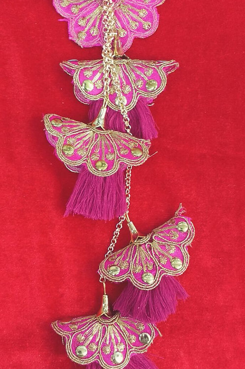 Product #T09 | Tassel with FiveLayer Golden Embroidered Flowers & Thread Dangler