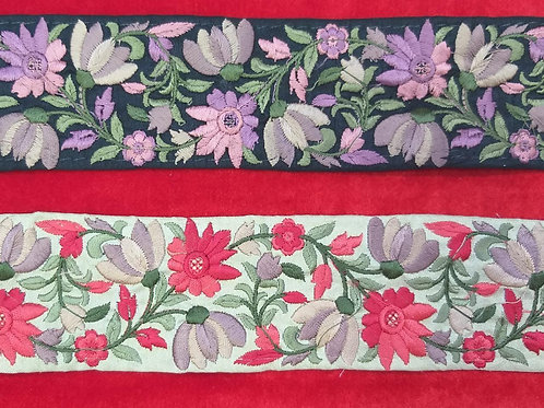 Product #Ne57   Machine Embroidered Parsi Gara Border