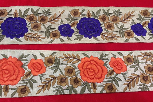 Product #B119 | Machine Embroidered Border with Floral Colourful Parsi GaraWork