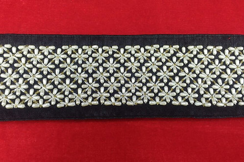 Product #B87 | Handmade Exclusive Border with Fine PearlBead Cross Patterns