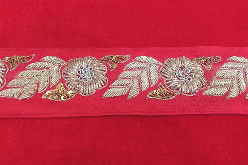 Product #B62 | Handmade Exclusive ZardoziWork Border with Flower and Leaf Trails