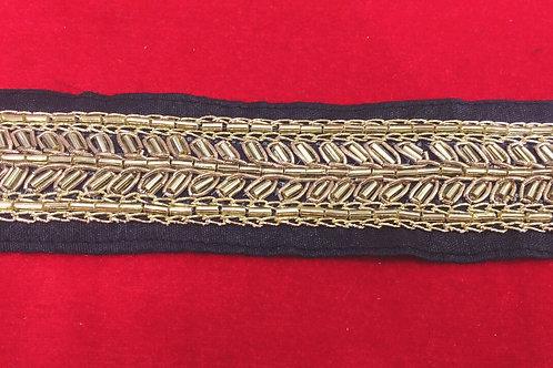 Product #B33 | Handmade Border with Golden Cut-Bead Trails & Fine Threadwork