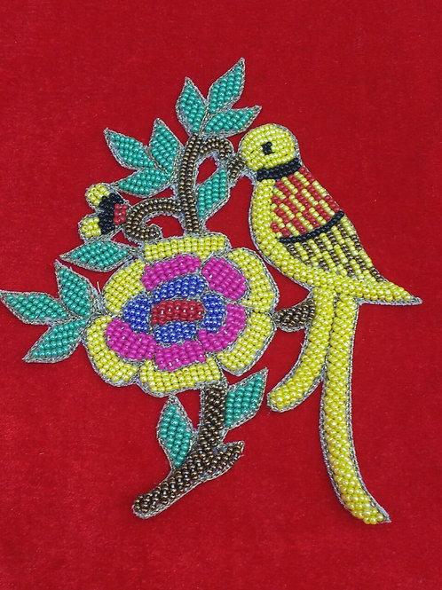 Product #P14 | BeadWork Patch HandMade Multicolor Bird-on-Branch Design