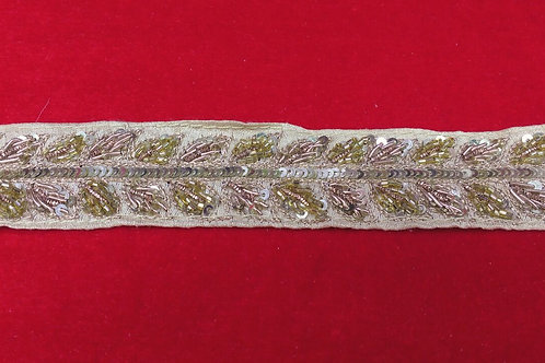 Product #B79 | Hand Embroidered Glass cut-beads with Rose-pink Zardozi Work
