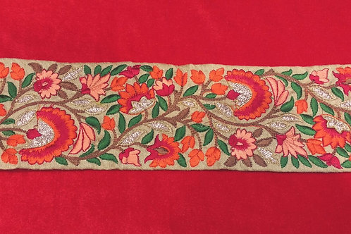 Product #B113 | Machine Embroidered Border with Multicolor Parsi GaraWork